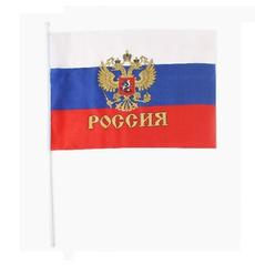 Флаг триколор с гербом 30х45см, фото 1
