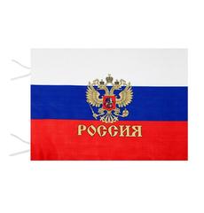 Флаг триколор с гербом без древка 90х140см, фото 1