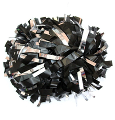 Помпон пластиковый черный с серебряными вставками, фото 1