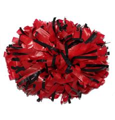 Помпон пластиковый красный с тонкими черными металлизированными вставками, фото 1