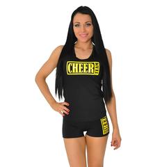 "Майка борцовка ""Cheer team"" (черная, желтый принт), фото 1"