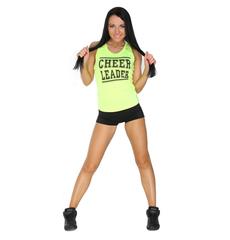"""Майка борцовка """"Cheerleader"""" (лимонная, черный принт), фото 2"""