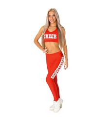 """Лосины """"Cheerleading"""" (красные, белый принт), фото 2"""