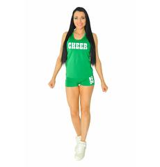 "Майка борцовка ""Cheer"" (зеленая, белый принт), фото 2"