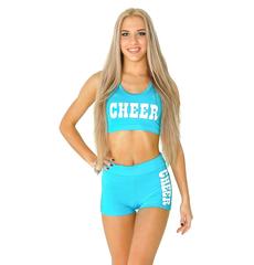"Топ борцовка ""Cheer"" (голубой, белый принт), фото 1"