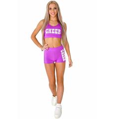 """Шорты для танцев на широкой резинке """"Cheer"""" (фиолетовые, белый принт), фото 4"""