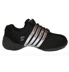 Кроссовки черные низкие с серебряными полосами, фото 1