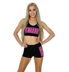 """Топ борцовка """"Cheer team"""" (черный, розовый принт), фото 1"""