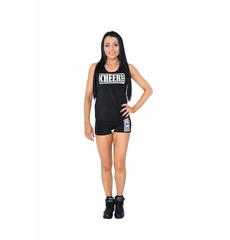 """Шорты для танцев на широкой резинке """"Cheer team"""" (черные, белый принт), фото 4"""