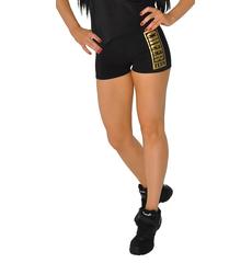 Шорты для танцев на широкой резинке ''Cheer team'' (черные, золотой принт), фото 1