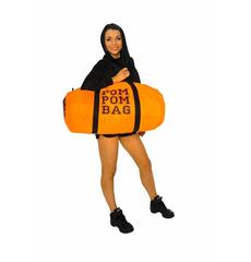 """Сумка """"Pom pom bag"""" (оранжевая, черный принт), фото 2"""