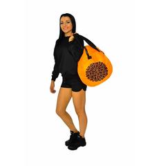 """Сумка """"Pom pom bag"""" (оранжевая, черный принт), фото 3"""