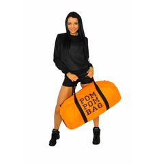 """Сумка """"Pom pom bag"""" (оранжевая, черный принт), фото 4"""