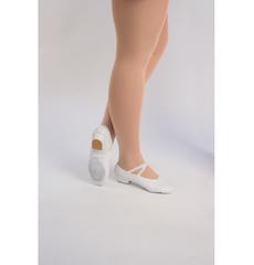 Балетки для танцев на каблуке (кожа) (размеры 30 - 42) белые 1104