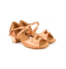 Туфли для танцев (каблук 3 см) (размеры  27-40) бежевые С150Д