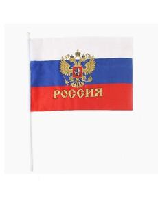 Флаг триколор с гербом 15х25см, фото 1