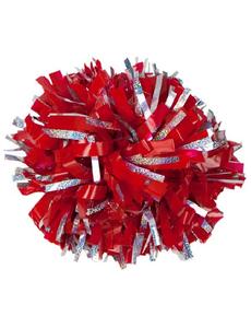 Помпон виниловый красный с тонкой серебряной голографией, фото 1