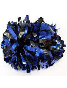Помпон металлизированный синий с черным, фото 1