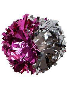 Помпон металлизированный малиновый с серебром, фото 1