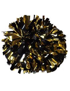 Помпон металлизированный черный с золотом, фото 1
