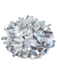 Помпон премиум класса белый с серебряной голографией, фото 1