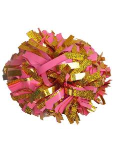 Помпон премиум класса розовый с золотой голографией, фото 1