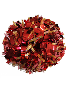 Помпон премиум класса металлизированный красный с тонкой золотой голографией, фото 1