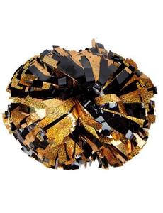 Помпон премиум класса черный с золотой голографией, фото 1