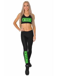 """Лосины """"Cheer team"""" (черные, зеленый принт), фото 2"""