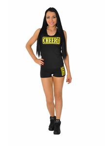 "Майка борцовка ""Cheer team"" (черная, желтый принт), фото 2"