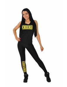 "Майка борцовка ""Cheer team"" (черная, желтый принт), фото 3"