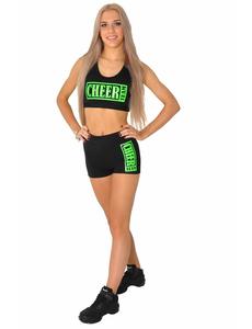 """Топ борцовка """"Cheer team"""" (черный, зеленый принт), фото 2"""
