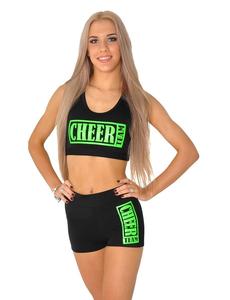 """Топ борцовка """"Cheer team"""" (черный, зеленый принт), фото 1"""