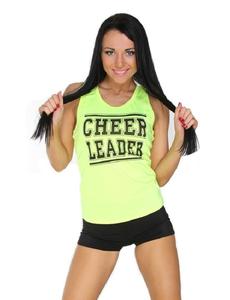 """Майка борцовка """"Cheerleader"""" (лимонная, черный принт), фото 1"""