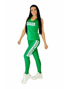 """Лосины """"Cheerleading"""" (зеленые, белый принт), фото 4"""