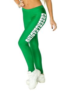 """Лосины """"Cheerleading"""" (зеленые, белый принт), фото 1"""
