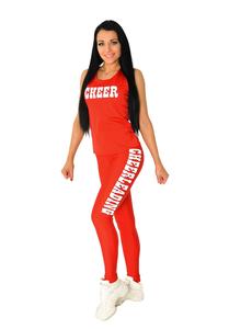 """Лосины """"Cheerleading"""" (красные, белый принт), фото 4"""