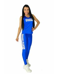 """Лосины """"Cheerleading"""" (синие, белый принт), фото 4"""