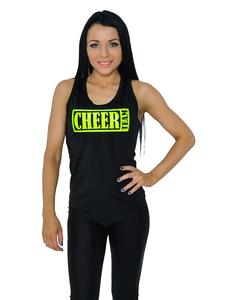"""Майка борцовка """"Cheer team"""" (черная, лимонный принт), фото 1"""
