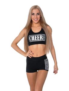 """Топ борцовка """"Cheer team"""" (черный, серебренный принт), фото 1"""