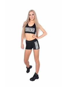 """Шорты для танцев на широкой резинке """"Cheer team"""" (черные, белый принт), фото 2"""