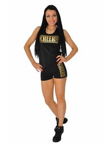 Шорты для танцев на широкой резинке ''Cheer team'' (черные, золотой принт), фото 2