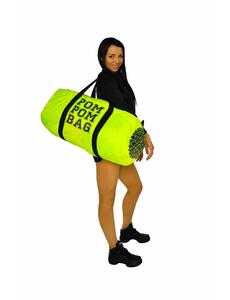 """Сумка """"Pom pom bag"""" (лимонная, черный принт), фото 2"""