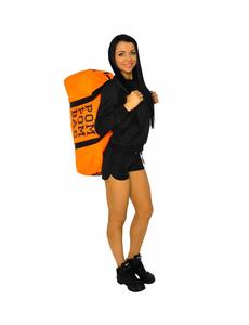 """Сумка """"Pom pom bag"""" (оранжевая, черный принт), фото 5"""