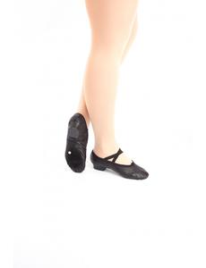 Балетки для танцев на каблуке (кожа) (размеры 30 - 42) черные 1104
