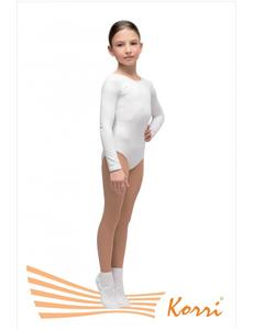 """Купальник гимнастический белый """"Силуэт"""" длинный рукав (хлопок) Г 93-301"""