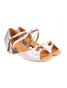 Туфли для танцев (каблук 3 см) (размеры  27-40) серебро С150Д