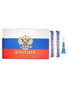 """Набор болельщика """"Россия чемпионка!"""" (флаг , палки-стучалки, дудка), фото 1"""