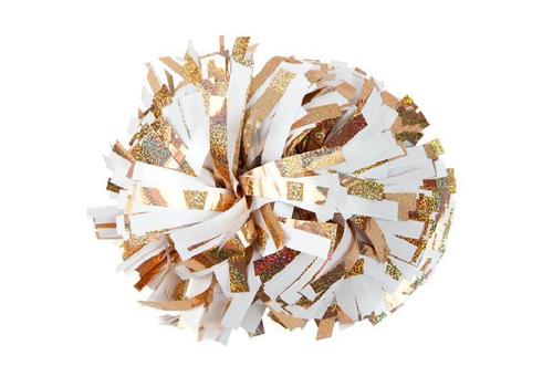 Помпон премиум класса белый с золотой голографией, фото 1